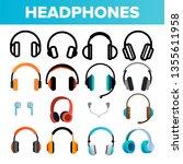 headphones icon set vector.... | Shutterstock .eps vector #1355611958