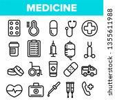 medicine line icon set vector.... | Shutterstock .eps vector #1355611988