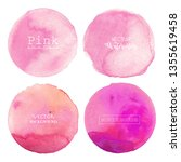 pink watercolor circle... | Shutterstock .eps vector #1355619458