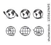 world icons set. earth globe... | Shutterstock .eps vector #1355619695