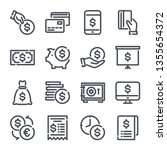 money related line icon set.... | Shutterstock .eps vector #1355654372