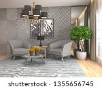 interior with chair. 3d... | Shutterstock . vector #1355656745