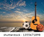 guitar  football  basketball ... | Shutterstock . vector #1355671898