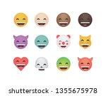 set of happy emoticon vector... | Shutterstock .eps vector #1355675978