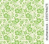 vector seamless green floral... | Shutterstock .eps vector #1355744675