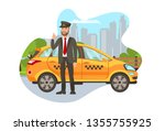 taxi driver with car isolated... | Shutterstock .eps vector #1355755925