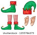 christmas elf hat  shoes  legs  ... | Shutterstock .eps vector #1355786375