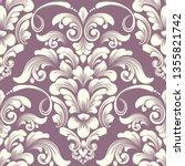 vector damask seamless pattern... | Shutterstock .eps vector #1355821742