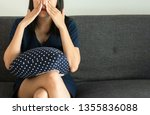 Woman with sinus and suffer from sinusitis,Female hand touching nose,Healthy and nasal allergic,Croped image