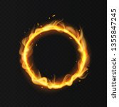 Fire Ring. Realistic Burning...