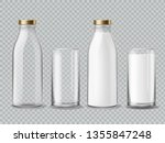 milk bottle and glass. empty... | Shutterstock .eps vector #1355847248