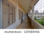 outside prison of the khmer... | Shutterstock . vector #135585446