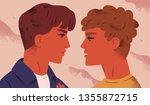 lgbt couple. portrait of cute... | Shutterstock .eps vector #1355872715