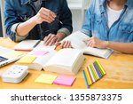 students learning in study... | Shutterstock . vector #1355873375
