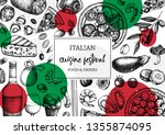 hand drawn pizza and pasta top... | Shutterstock .eps vector #1355874095