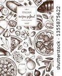 italian cuisine art. vintage... | Shutterstock .eps vector #1355875622
