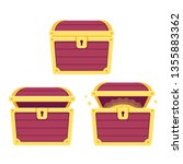 cartoon treasure chest set ... | Shutterstock .eps vector #1355883362