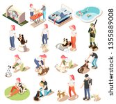 Stock vector ordinary life of man and his dog isometric icon set woman and man with their dogs vector 1355889008