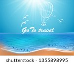 sea beach and doodle elements.... | Shutterstock .eps vector #1355898995