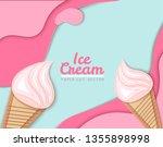 ice cream cone  background  3d  ... | Shutterstock .eps vector #1355898998