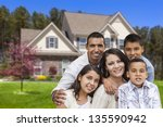 happy hispanic family portrait... | Shutterstock . vector #135590942