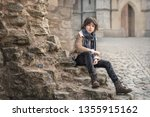portrait of a handsome and... | Shutterstock . vector #1355915162