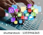 business man hands using laptop | Shutterstock . vector #1355946365