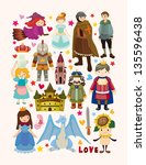 set of fairy tale element icons | Shutterstock .eps vector #135596438