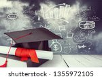 graduation mortarboard on book... | Shutterstock . vector #1355972105