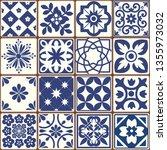 blue portuguese tiles pattern   ...   Shutterstock .eps vector #1355973032