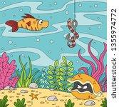 cartoon underwater landscape... | Shutterstock .eps vector #1355974772