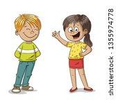 happy cartoon boy and girl ... | Shutterstock .eps vector #1355974778