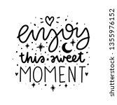 enjoy this sweet moment. vector ... | Shutterstock .eps vector #1355976152