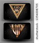 vip cards with golden design... | Shutterstock .eps vector #1356008705