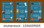 coffee beans and equipment set... | Shutterstock .eps vector #1356039005