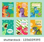baby dragons set of birthday or ... | Shutterstock .eps vector #1356039395