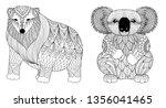 cute polar bear and koalar bear ... | Shutterstock .eps vector #1356041465