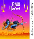 illustration of lord rama with... | Shutterstock .eps vector #1356043385