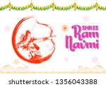 illustration of lord rama with... | Shutterstock .eps vector #1356043388
