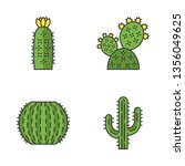 wild cactus color icons set.... | Shutterstock .eps vector #1356049625