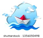 paper ship swimming in sea... | Shutterstock .eps vector #1356050498