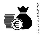 money bag with coins euro eur... | Shutterstock .eps vector #1356052508