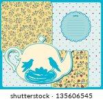 vintage ceramic tea pot with... | Shutterstock .eps vector #135606545