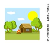wooden country house. old camp. ... | Shutterstock .eps vector #1356075518