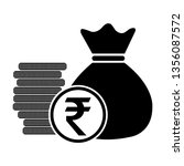 money bag with coins indian... | Shutterstock .eps vector #1356087572