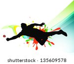 cricket bowler in playing... | Shutterstock .eps vector #135609578