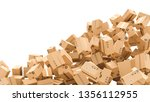 cardboard boxes with empty... | Shutterstock . vector #1356112955