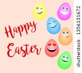 greeting card with funny easter ... | Shutterstock .eps vector #1356131672