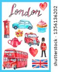 watercolor poster with london... | Shutterstock . vector #1356136202