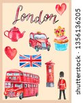watercolor print with london... | Shutterstock . vector #1356136205